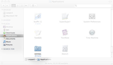 Apple Utilities Folder in Applications