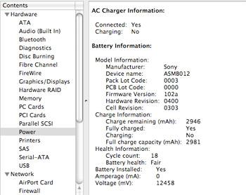 System Profiler - Power