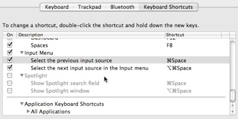 Keyboard and Mouse Preferences - Keyboard Shortcuts - Input Menu